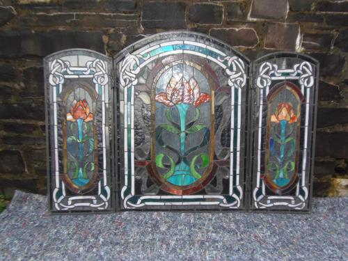 Arts & Crafts Leaded Glass Fire Screen (1 of 14)