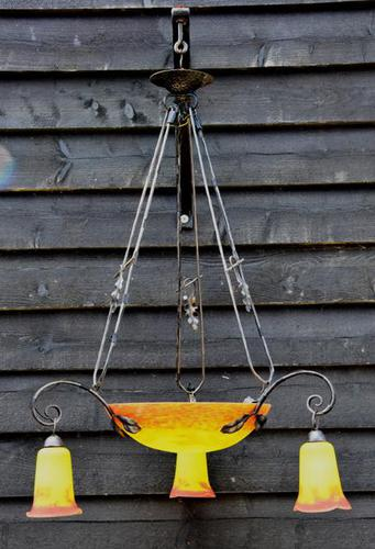 Striking Early 20th Century French Art Glass Chandelier / Ceiling Pendant Light / Hanging Lamp (1 of 4)