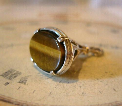 Vintage Silver & Tigers Eye Pocket Watch Chain Fob 1970s Art Nouveau Revival (1 of 9)