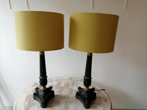 Fine quality pair of French bronze & ormulu table lamps (1 of 9)