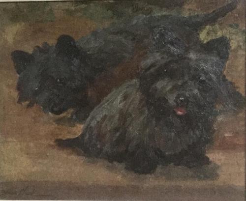 Joseph Dixon Clark Oil Painting 'Cairn Terriers' (1 of 3)