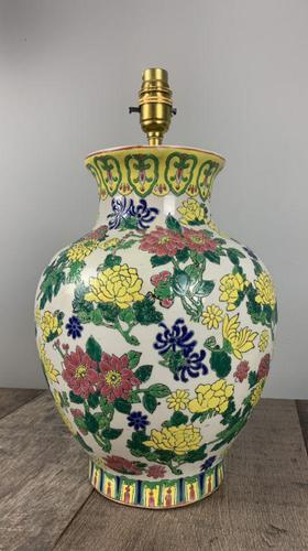 English Floral Vase Table Lamp, Rewired & Pat Tested c.1900 (1 of 9)