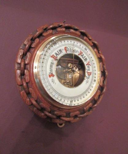 Antique Polished Oak Ship's Barometer (1 of 6)
