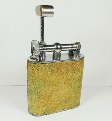 Rare Stunning Unique Art Deco Shagreen Lift Arm Lighter c.1930 (1 of 13)