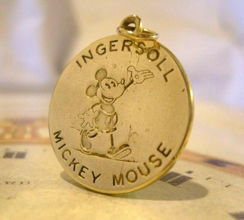 Pocket Watch Chain Ingersoll Mickey Mouse Fob 1930s Original Brass Fob (1 of 8)