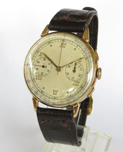 Gents 9ct Gold Landeron Chronograph Wrist Watch (1 of 5)