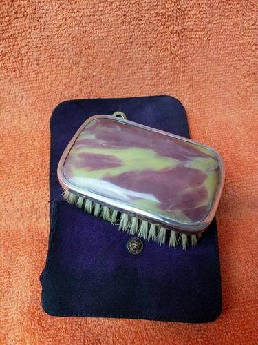 Sterling Silver Hallmarked Cased Purple & Yellow Small Brush 1928 W F H (1 of 10)