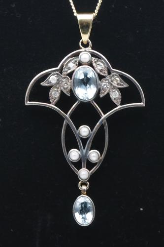 Blue topaz, diamond and seed pearl pendant (1 of 1)