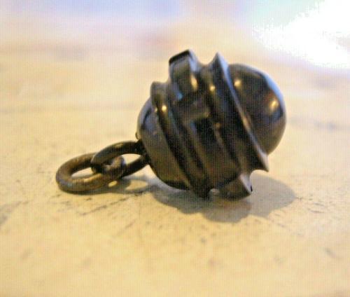 Antique Pocket Watch Chain Fob 1890s Victorian Black Vulcanite Ball Fob (1 of 7)