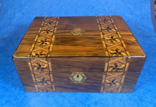 Victorian Walnut Tunbridge Ware P Box (1 of 9)