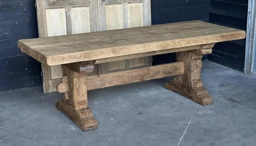 Superb Rustic Large Bleached Oak Farmhouse Table with Extensions (1 of 36)