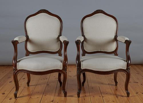 Pair of French Louis XV Style Walnut Armchairs (1 of 9)