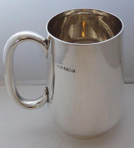 1921 Hallmarked Solid Silver 1 One Pint Tankard Christening Mug 245g (1 of 10)