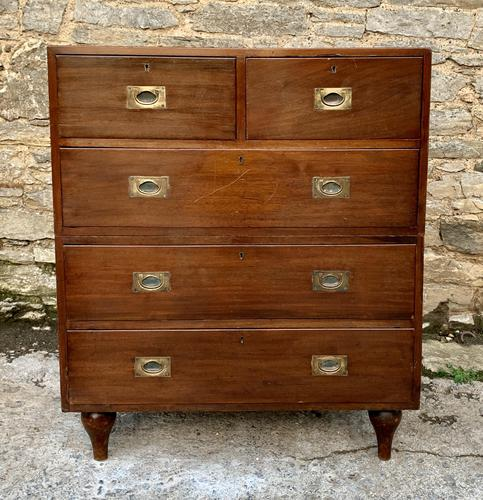 Antique Military Campaign Teak Chest of Drawers (1 of 21)