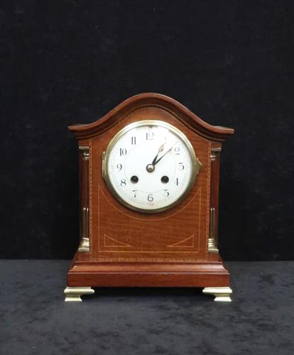 French Belle Epoque Mahogany Inlaid Mantel Clock (1 of 7)