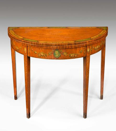 George III Period Demilune Satinwood Card Table (1 of 7)