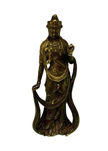 Antique Far Eastern Small Bronze Statue c.1870 (1 of 6)