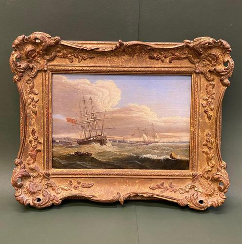 Beautifully Painted George III Period Oil Painting on Panel of a Marine Scene (1 of 5)