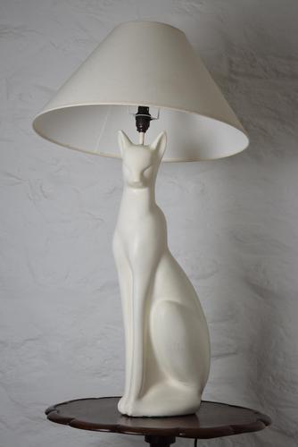 Mid Century White Cat Table Lamp (1 of 10)