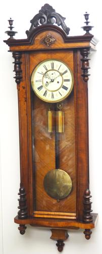 Superb Antique German Twin Walnut 8-Day Mantel Clock Vienna Striking Wall Clock (1 of 10)