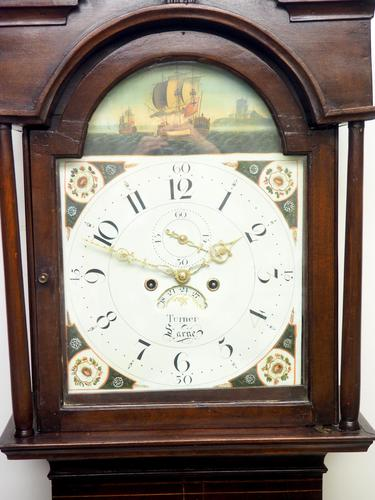 19thc English 8 Day Longcase Clock Mahogany Case Galleon Painted Dial Grandfather Clock (1 of 19)