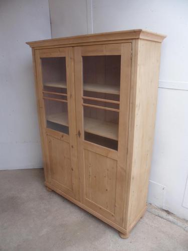 Victorian Antique Pine 2 Door Adjustable Bookcase to wax / paint (1 of 8)