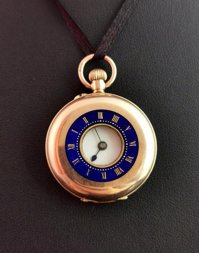 Antique 9ct Gold Half Hunter Pocket Watch, Blue Enamel (1 of 14)