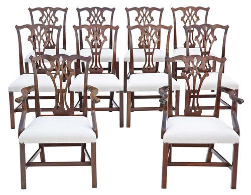Set of 10 (8+2) Mahogany Georgian Revival Dining Chairs Ribbon Back c.1920-1950 (1 of 10)