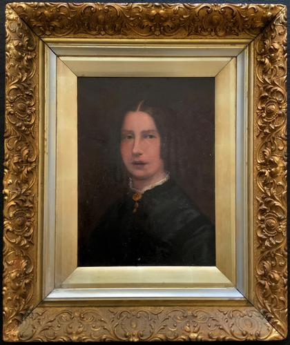 Original 19th Century British Primitive School Oil Portrait Painting of a Lady (1 of 8)