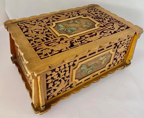 Unusual Pierced Box with Enamel Butterflies c.1920 (1 of 10)