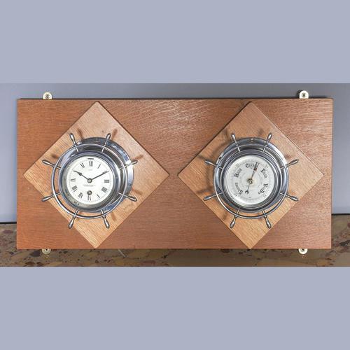 Pair of Chrome Ships Bulkhead Clock & Barometer c.1930 (1 of 4)