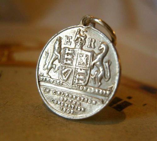 Antique Pocket Watch Chain Coin Fob 1902 Coronation King Edward V11 & Alexandra (1 of 3)