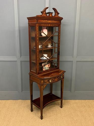 Edwardian Slender Inlaid Mahogany Display Cabinet (1 of 21)