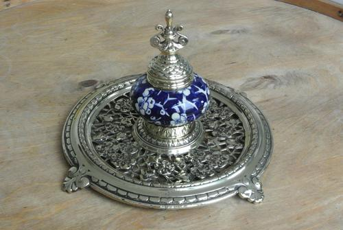 Fine Victorian Brass Inkwell Chinese Inspired Prunus Blossom Pottery Ink Pot c.1880 (1 of 8)