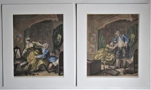 William Hogarth, Pair of Original Prints, Later Hand Colour, Before and After Engraved 1736 (1 of 10)