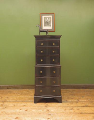 Black Painted Antique Reproduction Serpentine Chest of Drawers, Office Chest (1 of 18)