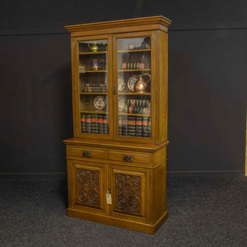 Edwardian Oak Bookcase (1 of 6)