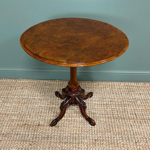 Beautifully Figured Victorian Walnut Antique Occasional Table (1 of 9)