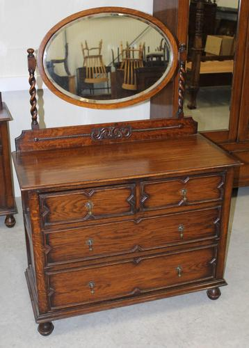 1920's Oak Dressing Table with Oval Central Mirror Stand (1 of 4)