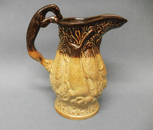 Staffordshire Salt Glazed Stoneware 'Game' Jug, c.1840 (1 of 5)