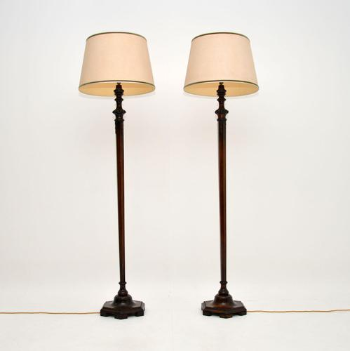 Pair of Antique Mahogany Floor Lamps (1 of 8)