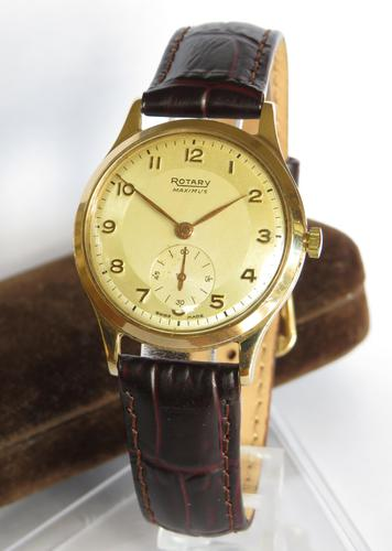 Gents 9ct Gold Rotary Maximus Wristwatch, 1952 (1 of 6)