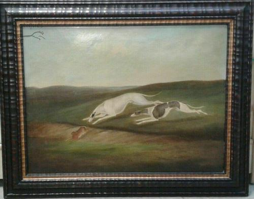 Early 19th Samuel Spode English Lurchers Hare Coursing Hunting Oil on Canvas (1 of 1)