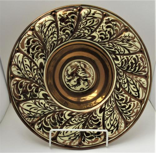 Gordon Forsyth, Copper Lustre Earthenware Shallow Footed Dish in Hispano Moresque Style c.1930 (1 of 8)