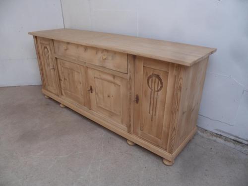 Art Nouveau Antique Pine 4 Door Dresser Base / TV Stand to wax / paint (1 of 9)