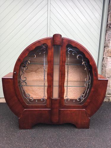 Art Deco Walnut Display Cabinet (1 of 11)