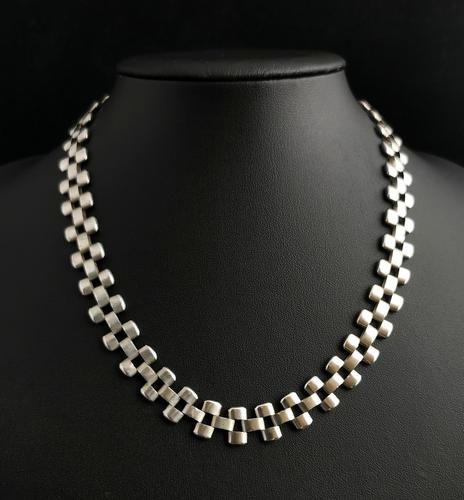 Antique Victorian Silver Collar Necklace, Brick Link (1 of 12)