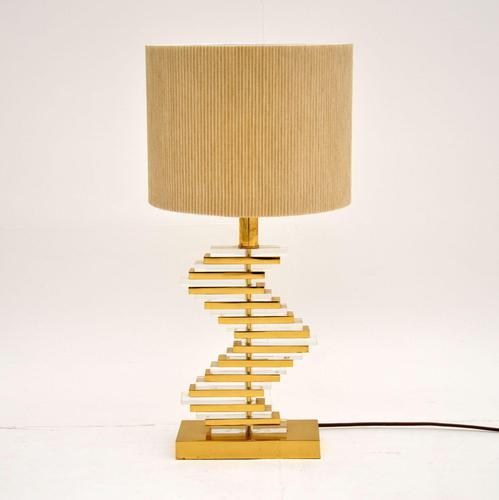 Vintage Brass & Acrylic Table Lamp (1 of 4)