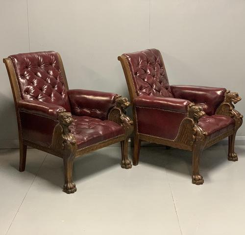 Pair of 19th Century Buttoned Leather Armchairs with Grifins (1 of 11)