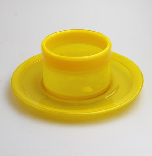 Erik Hoglund : Scandinavian Kosta Boda Art Glass Large Canary Yellow Bowl & Saucer c.1960 (1 of 10)